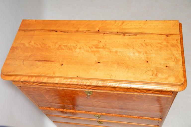 Antique Swedish Satin Birch Secretaire Bureau For Sale 6