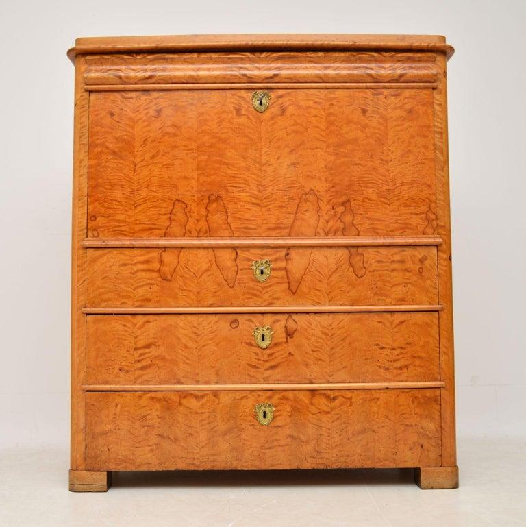 Victorian Antique Swedish Satin Birch Secretaire Bureau For Sale