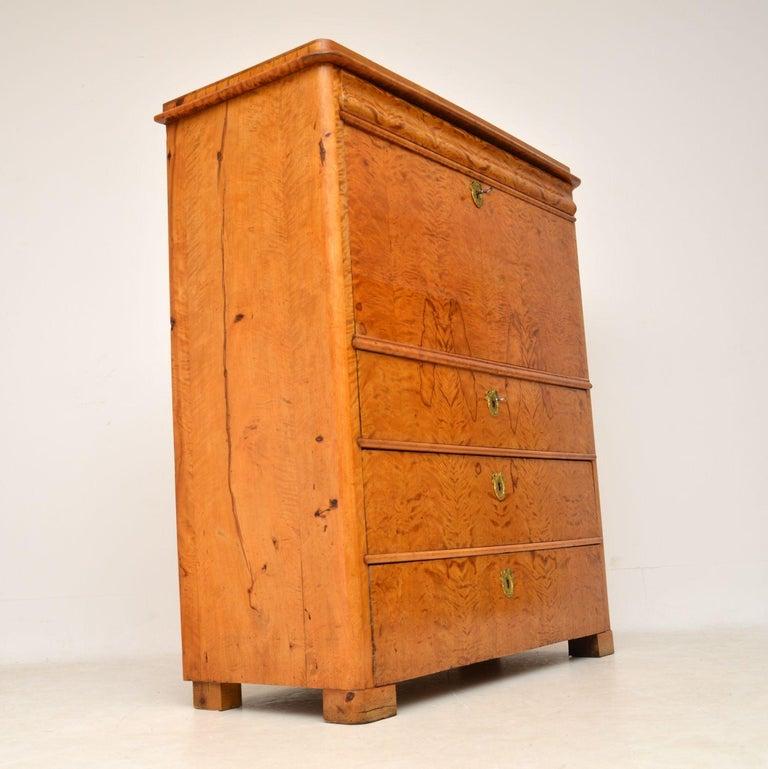 Antique Swedish Satin Birch Secretaire Bureau In Good Condition For Sale In London, GB