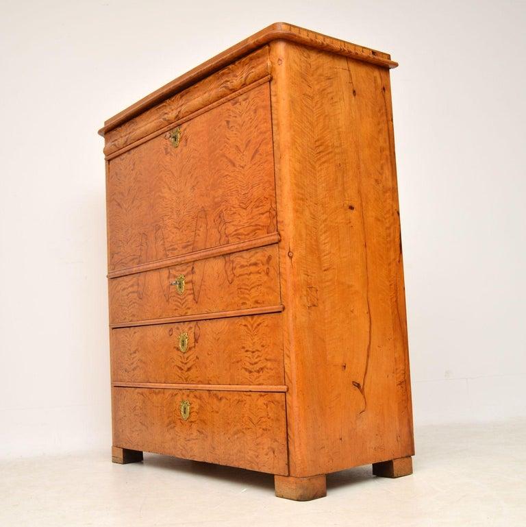 Mid-19th Century Antique Swedish Satin Birch Secretaire Bureau For Sale