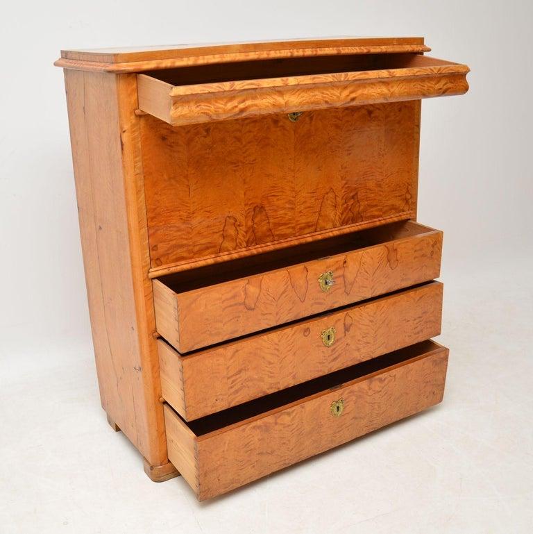 Antique Swedish Satin Birch Secretaire Bureau For Sale 1