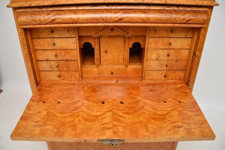 Antique Swedish Satin Birch Secretaire Bureau For Sale 2
