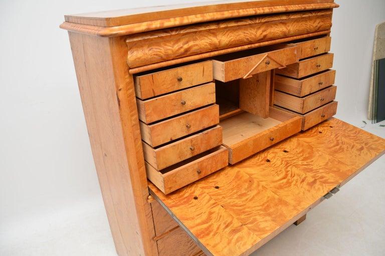 Antique Swedish Satin Birch Secretaire Bureau For Sale 3
