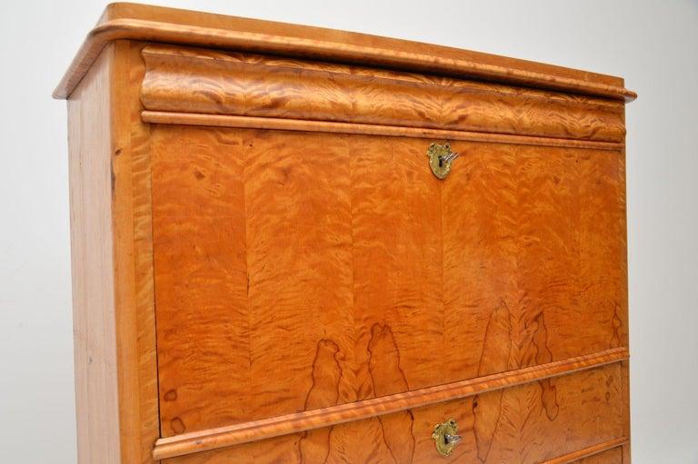 Antique Swedish Satin Birch Secretaire Bureau For Sale 4