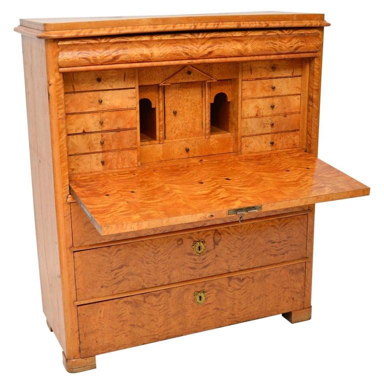 Antique Swedish Satin Birch Secretaire Bureau For Sale