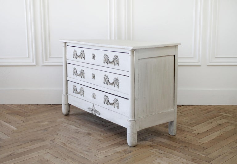 Painted Antique Swedish Style Commode or Chest of Drawers For Sale