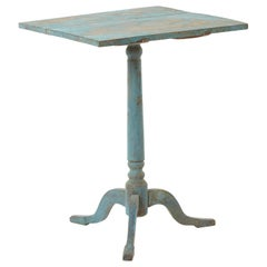 Antique Swedish Tilt-Top Table in Dalarna Blue, circa  1830