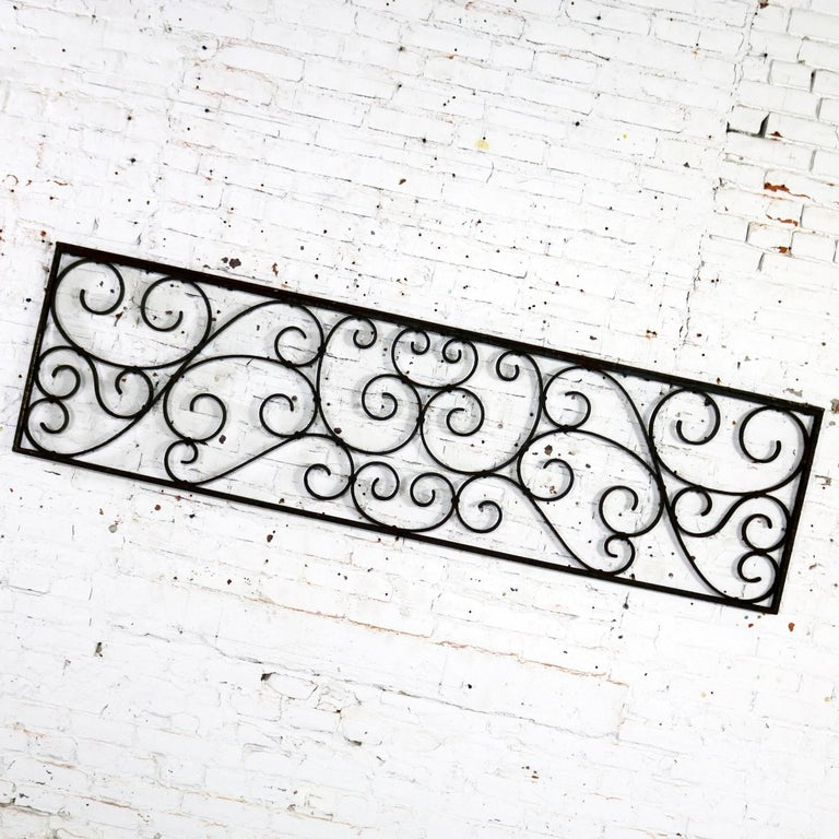 Antique Swirled Design Wrought Iron Railing Piece Trellis or Fence Section For Sale 4