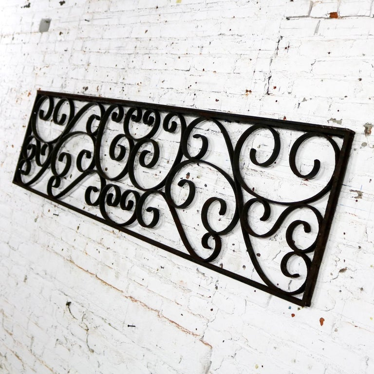 Antique Swirled Design Wrought Iron Railing Piece Trellis or Fence Section For Sale 6