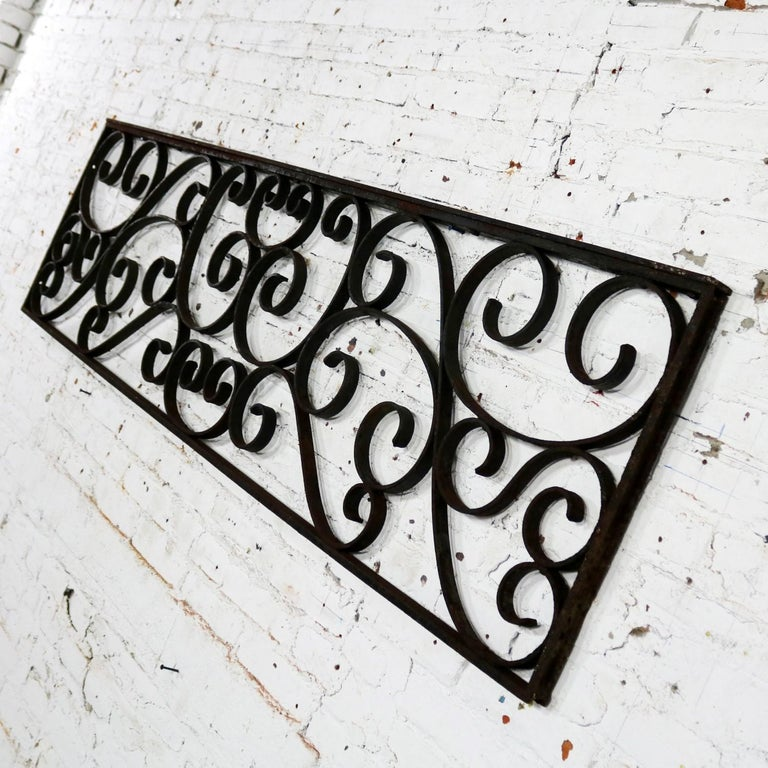 Antique Swirled Design Wrought Iron Railing Piece Trellis or Fence Section For Sale 7