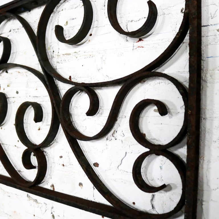 Antique Swirled Design Wrought Iron Railing Piece Trellis or Fence Section For Sale 8