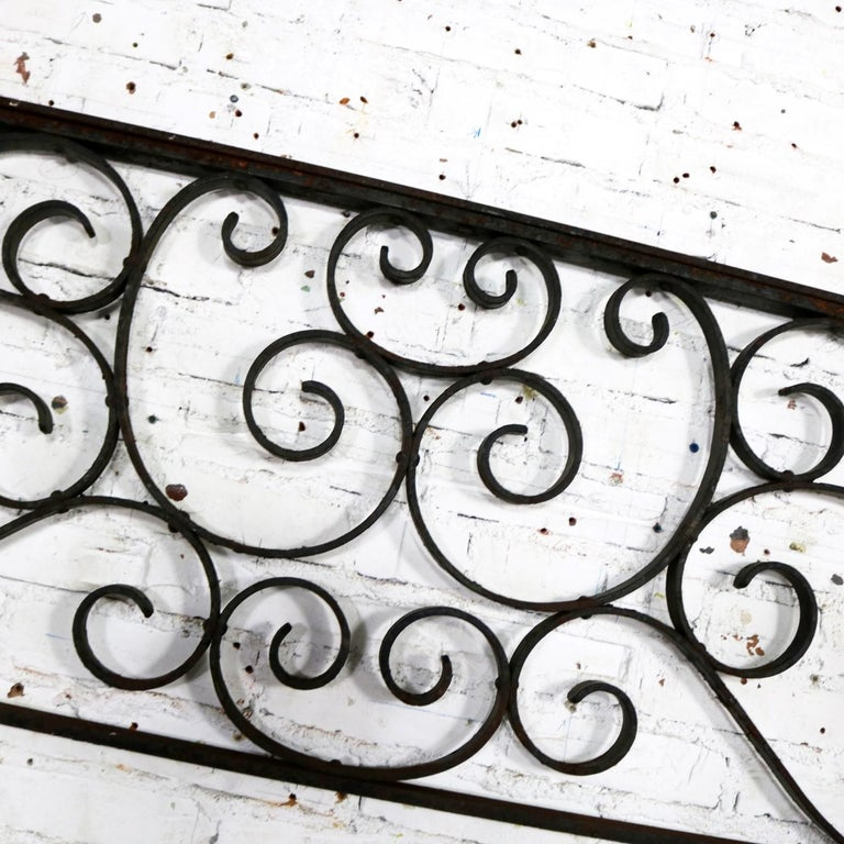 Antique Swirled Design Wrought Iron Railing Piece Trellis or Fence Section For Sale 9