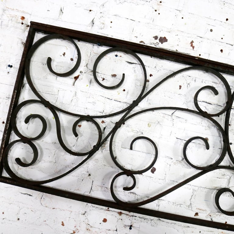 Antique Swirled Design Wrought Iron Railing Piece Trellis or Fence Section For Sale 10