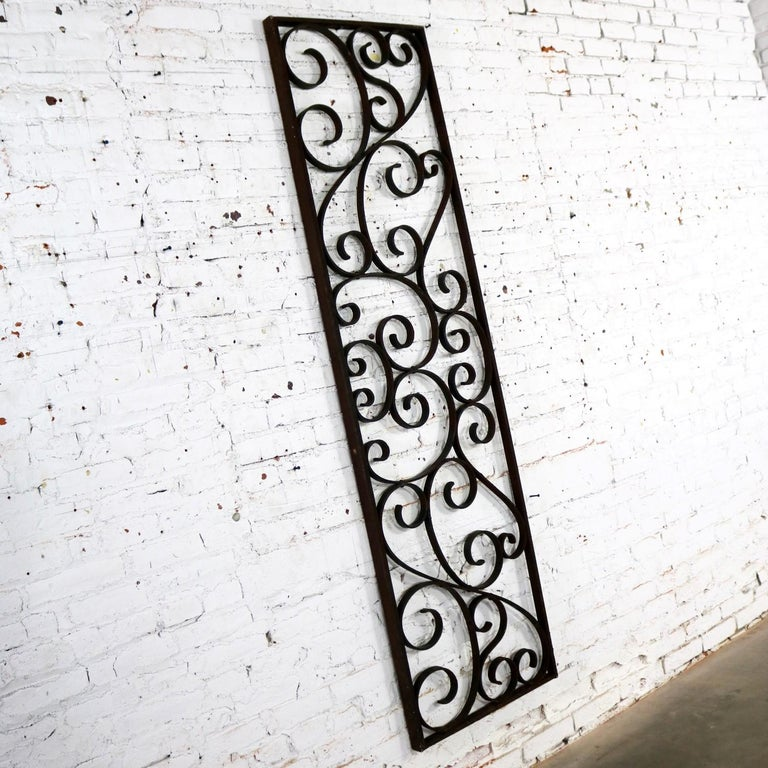 Other Antique Swirled Design Wrought Iron Railing Piece Trellis or Fence Section For Sale