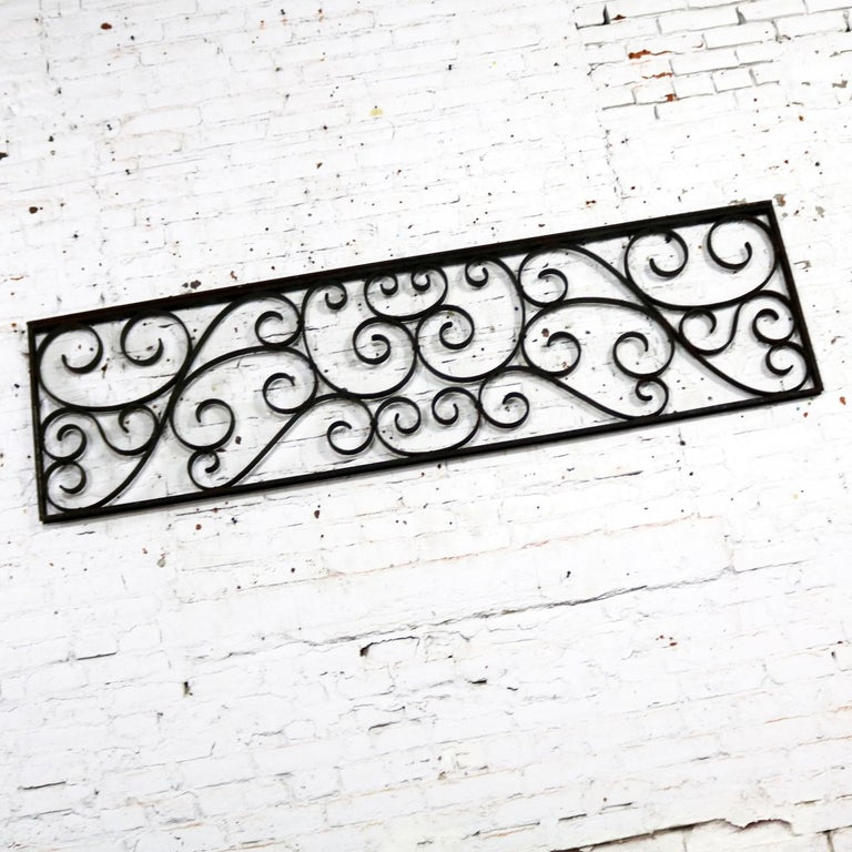 Patinated Antique Swirled Design Wrought Iron Railing Piece Trellis or Fence Section For Sale