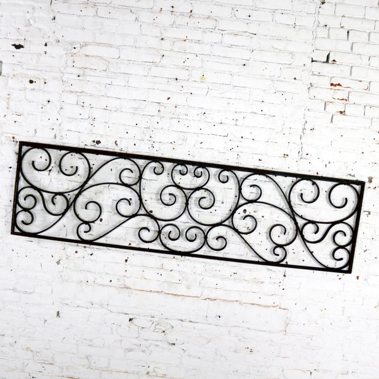 20th Century Antique Swirled Design Wrought Iron Railing Piece Trellis or Fence Section For Sale