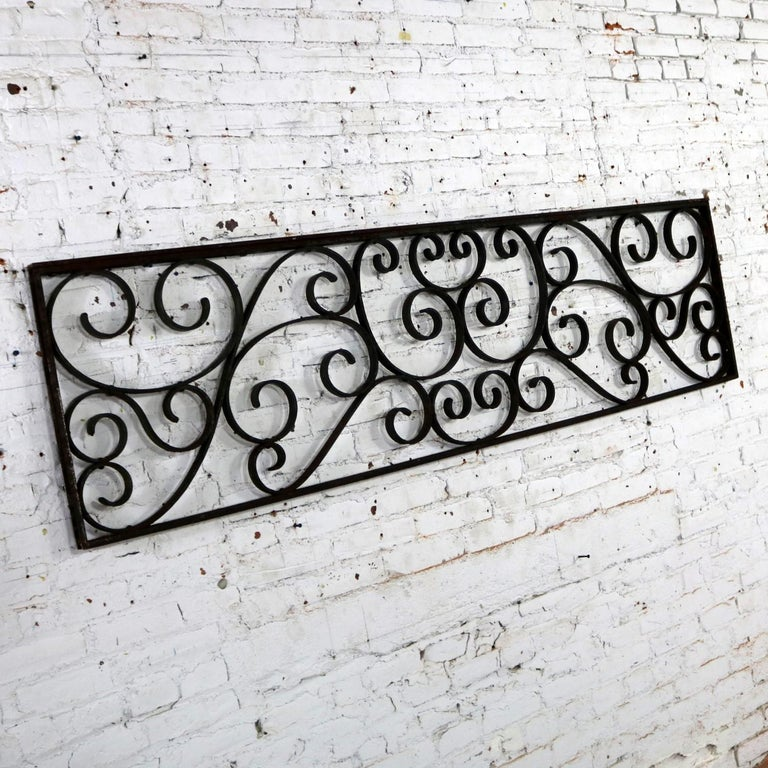 Antique Swirled Design Wrought Iron Railing Piece Trellis or Fence Section For Sale 2