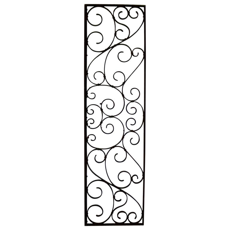 Antique Swirled Design Wrought Iron Railing Piece Trellis or Fence Section For Sale