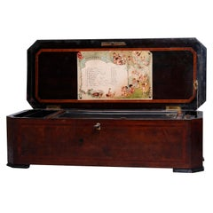 Antique Swiss 12-Tune Cylinder Music Box, Banded Floral Inlaid Burl Case