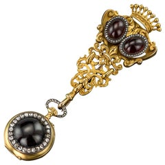 Antique Swiss 18-Karat Gold, Diamond and Garnet-Set Watch Chatelaine, circa 1870