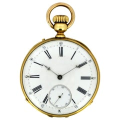 Antique Swiss 18 Karat Yellow Gold Pocket Watch by Amore Spiral Breguet, 1920s