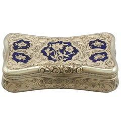 1840s Antique Swiss Yellow Gold and Enamel Snuff Box