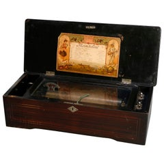 Antique Swiss 8-Tune Cylinder Music Box, Floral Marquetry and Mahogany Case