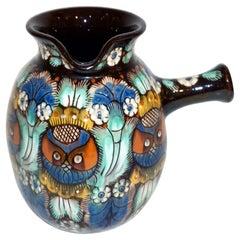 Antique Swiss Arts & Crafts Brown Green Blue White Thoune Enamel Ceramic Jug