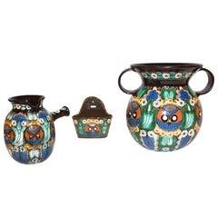 Antique Swiss Arts & Crafts Thoune Majolica Set of Vase, Jug and Holder
