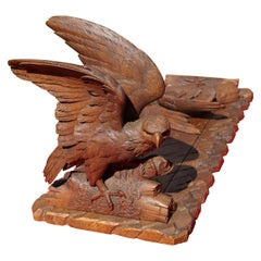 Swiss Black Forest Nutwood Books Rack or Stand with Carved Eagle Sculptures