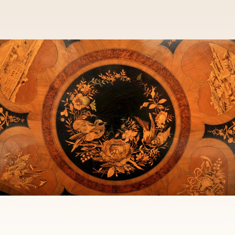 Antique Swiss Black Forest Tilt-Top Pedestal Walnut Marquetry Carved Table, 1880 For Sale 4