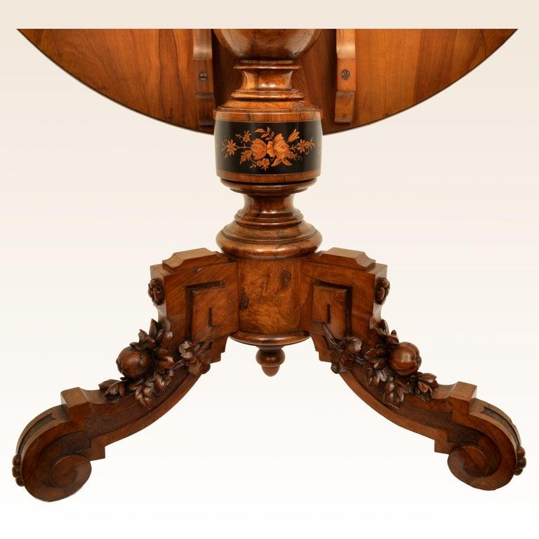 Antique Swiss Black Forest Tilt-Top Pedestal Walnut Marquetry Carved Table, 1880 For Sale 6