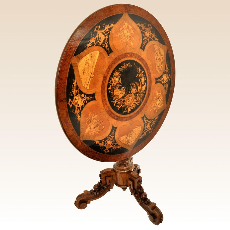 Inlay Antique Swiss Black Forest Tilt-Top Pedestal Walnut Marquetry Carved Table, 1880 For Sale