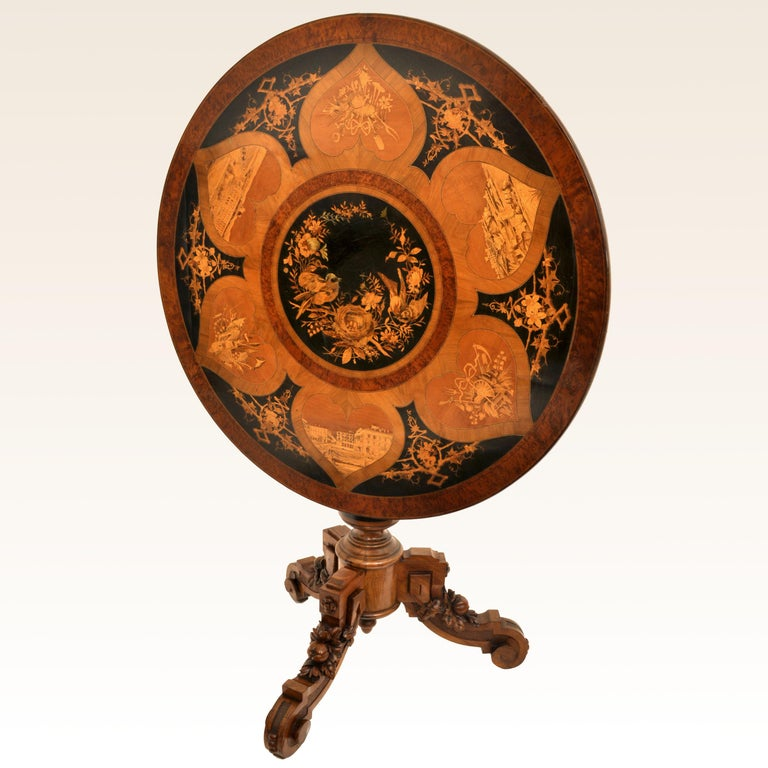 Antique Swiss Black Forest Tilt-Top Pedestal Walnut Marquetry Carved Table, 1880 In Excellent Condition For Sale In Portland, OR