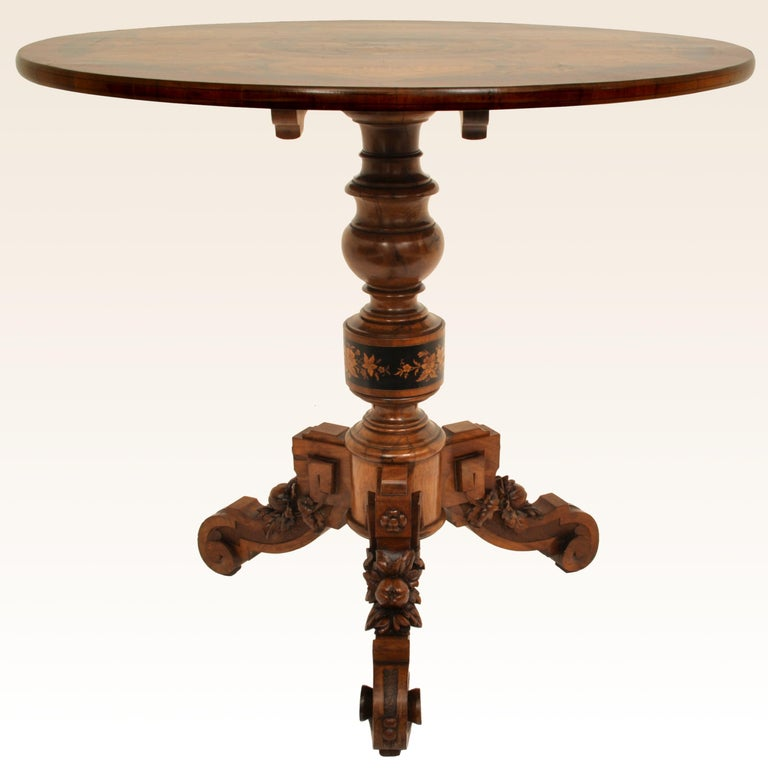 Late 19th Century Antique Swiss Black Forest Tilt-Top Pedestal Walnut Marquetry Carved Table, 1880 For Sale
