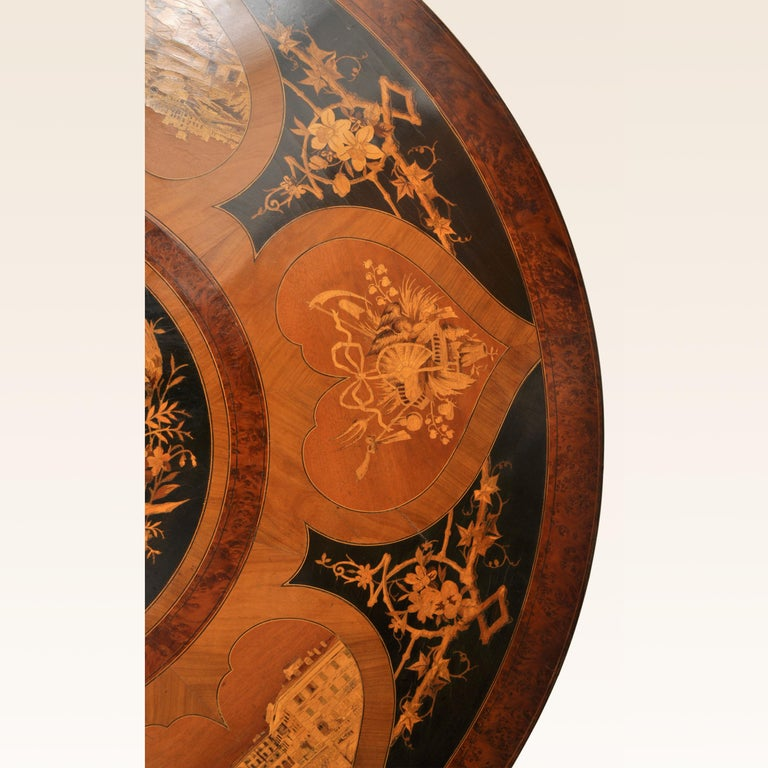 Antique Swiss Black Forest Tilt-Top Pedestal Walnut Marquetry Carved Table, 1880 For Sale 1