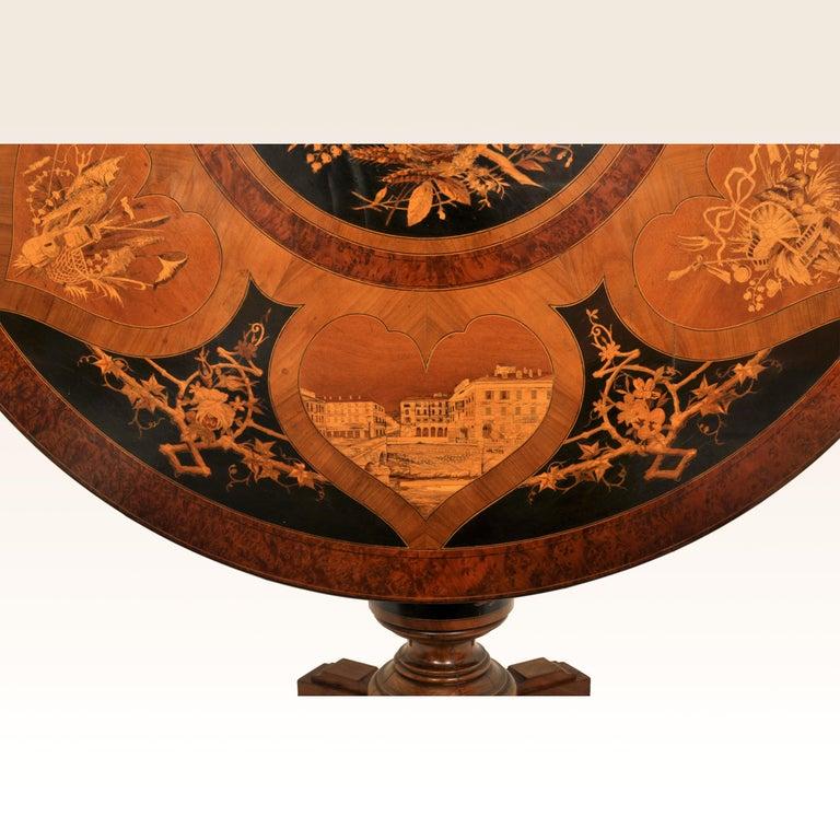 Antique Swiss Black Forest Tilt-Top Pedestal Walnut Marquetry Carved Table, 1880 For Sale 2