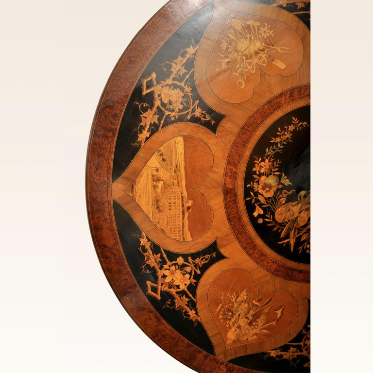 Antique Swiss Black Forest Tilt-Top Pedestal Walnut Marquetry Carved Table, 1880 For Sale 3