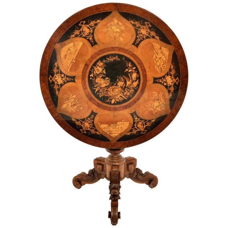 Antique Swiss Black Forest Tilt-Top Pedestal Walnut Marquetry Carved Table, 1880 For Sale
