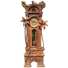 Antique Swiss Black Forest Walnut Ancient Ruïn, Palm Trees Grandfather Clock