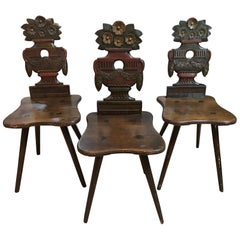 Antique Swiss Carved Wood Chairs