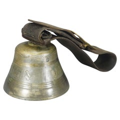 Antique Swiss Casted Bronze Cow Bell with Leather Strap Ca. 1900