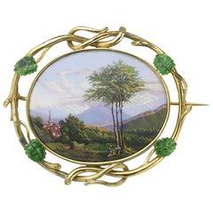 Antique Swiss Enamel Brooch