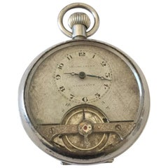 Antique Swiss Made Silver Plated Pocket Watch with Visible Escapement