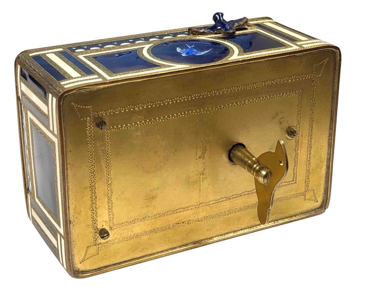 Women's or Men's Antique Swiss Mechanical Automaton Bird Box Music Box For Sale