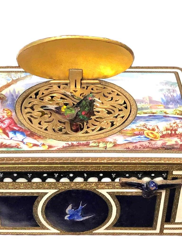 Antique Swiss Mechanical Automaton Bird Box Music Box For Sale 1