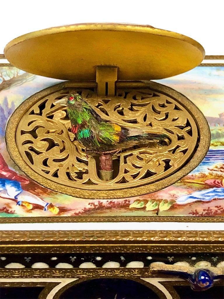 Antique Swiss Mechanical Automaton Bird Box Music Box For Sale 2