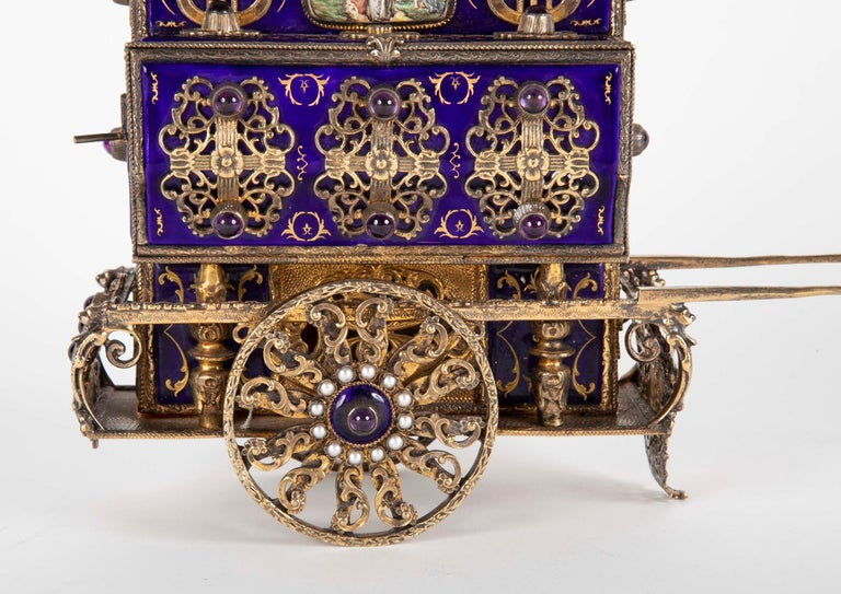 Antique Swiss Music Box in Organ Grinders Cart Form by Charles Reuge In Good Condition For Sale In Stamford, CT