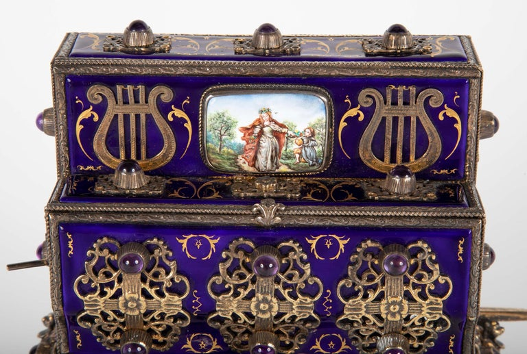 Early 20th Century Antique Swiss Music Box in Organ Grinders Cart Form by Charles Reuge For Sale