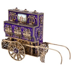 Antique Swiss Music Box in Organ Grinders Cart Form by Charles Reuge